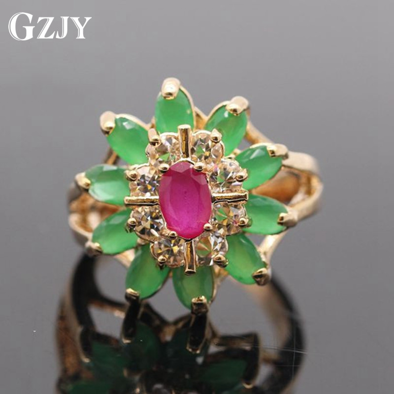 GZJY Beautiful Flower Gold Color Red CZ&E AAA Cubic Zirconia Crystal Flower Ring For Women G11-2